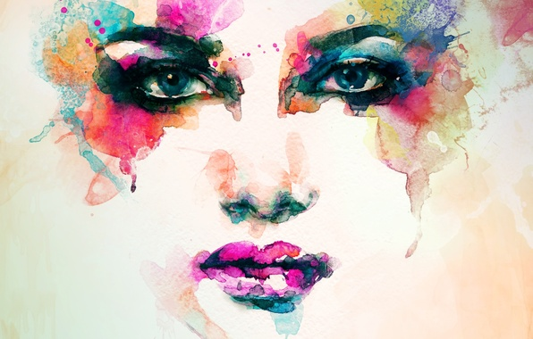 Picture girl, portrait, watercolor, color