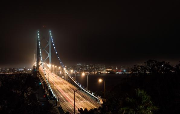 Picture autumn, the sky, night, bridge, lights, lights, dark, dark, CA, Bay, San Francisco, light, USA, …
