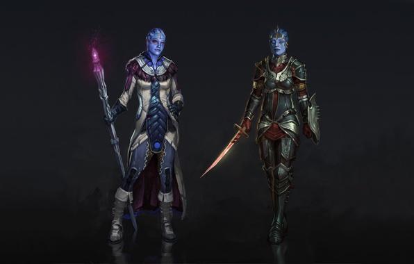 Picture sword, armor, staff, cloak, warrior, sorceress, Mass Effect, fanart, Liara, Samara