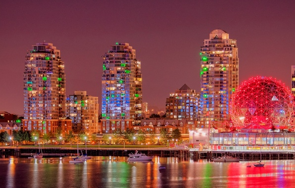 Picture building, yachts, Canada, panorama, Vancouver, Canada, night city, British Columbia, promenade, Vancouver, British Columbia, Bay …