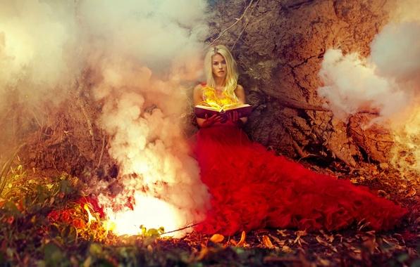 Picture girl, fire, magic, model, dress, book, red dress