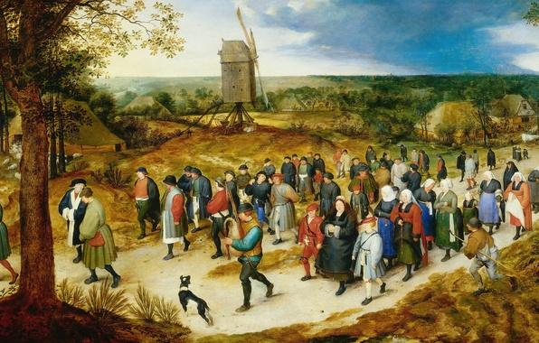 Picture picture, windmill, genre, Jan Brueghel the elder, The Wedding Procession