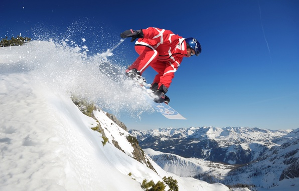 Picture the sky, snow, mountains, jump, snowboard, sport