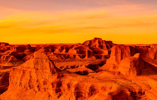 Picture the sky, clouds, sunset, mountains, canyon, panorama