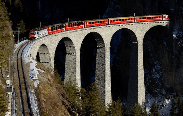 Picture mountains, red, bridge, train, railroad, Switzerland, viaduct