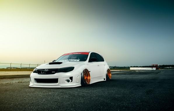 Picture Subaru, Impreza, WRX, Sky, STI, Front, White, Stance, Low
