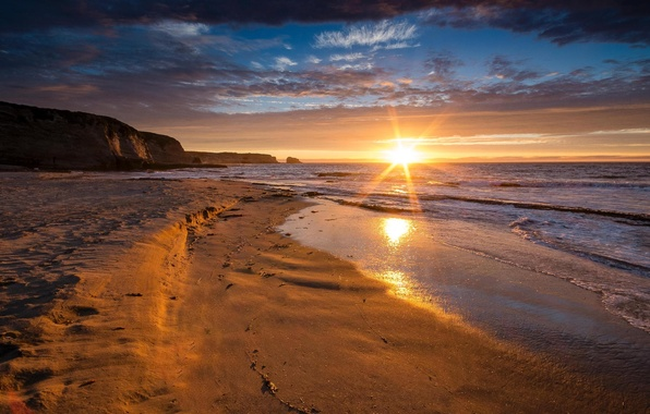 Picture beach, mountains, the ocean, shore