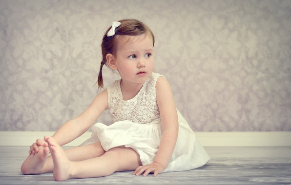 Picture mood, barefoot, dress, girl, sitting, on the floor, child