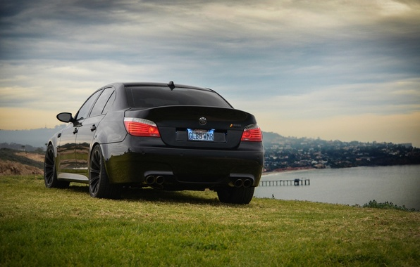 Picture the sky, grass, light, clouds, black, bmw, BMW, black, headlight, back, e60