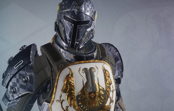 Picture background, warrior, art, helmet, armor, coat of arms, Destiny
