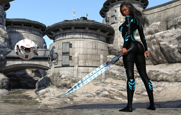 Picture ass, look, girl, rendering, desert, robot, sword, future, costume, desert, warrior, kendra
