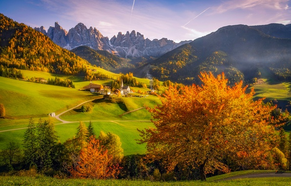 Picture autumn, trees, mountains, valley, Alps, Italy, Church, village, forest
