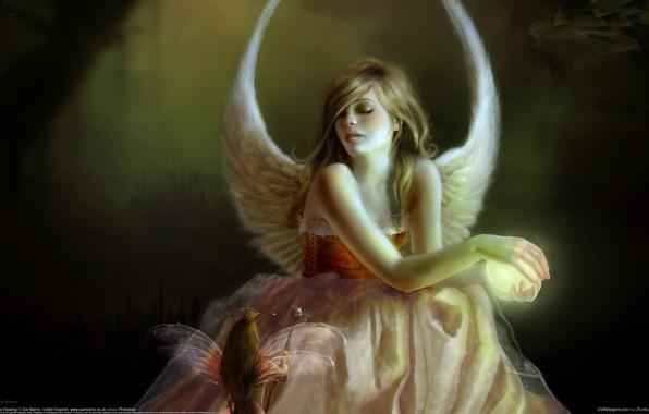 Picture girl, magic, elf, wings, angel, Sue Marino
