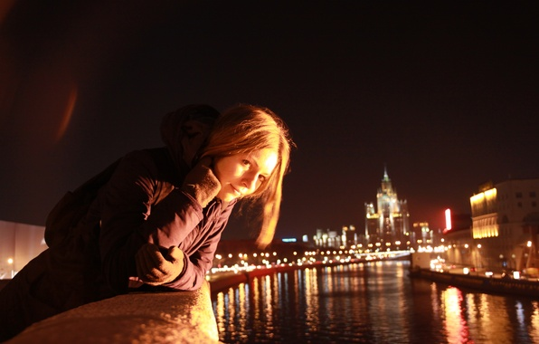 Picture girl, night, the city, river, mood, Moscow, walk