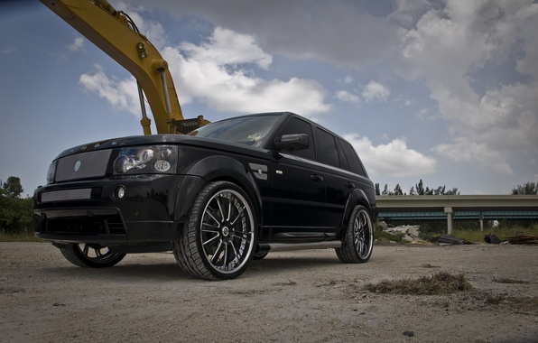 Picture the sky, trees, clouds, black, tuning, wheels, drives, black, range rover, tuning, rover, land, range …