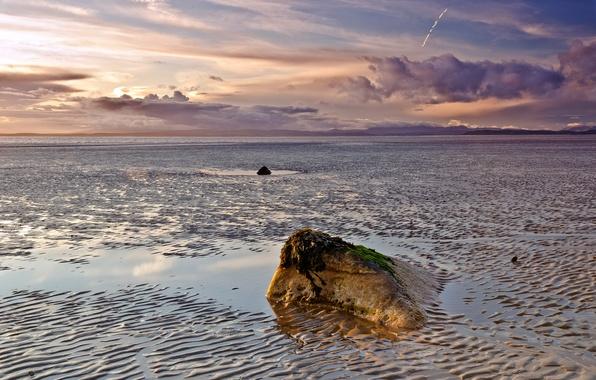 Picture sea, beach, the sky, clouds, stone