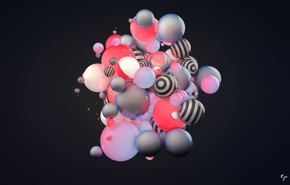 Picture abstraction, rendering, balls, color. strip, condezine