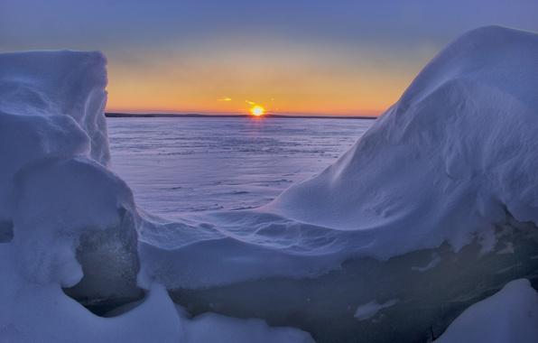 Picture winter, snow, sunset, Michigan, the snow, Michigan, Higgins Lake, Lake Higgins