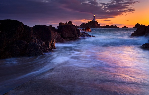 Picture sea, light, sunset, lights, rocks, the evening, excerpt, Lighthouse, twilight, Corbiere Lighthouse