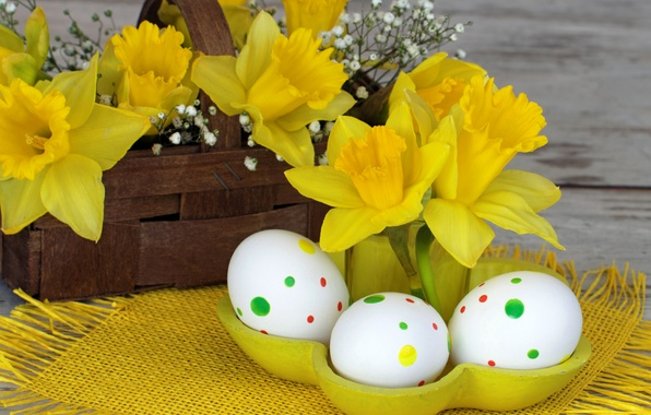 Picture flowers, holiday, Board, eggs, Easter, basket, napkin, daffodils, Easter, eggs