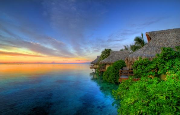 Picture Sunset, The island of Moorea, Tahiti