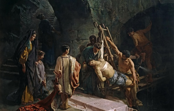 Picture interior, picture, genre, mythology, Alejandro Ferrante and fisherman's, The Burial Of St. Sebastian