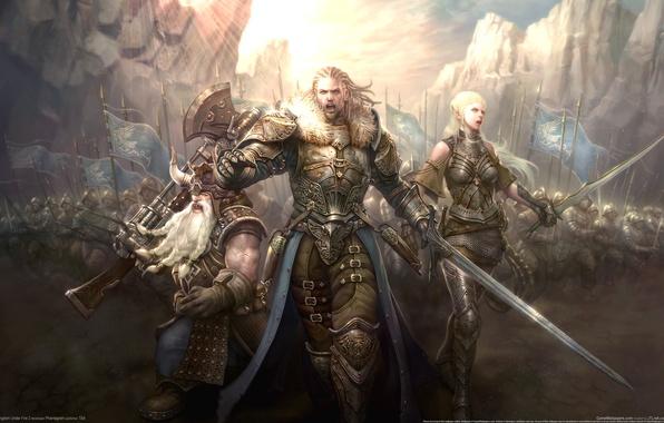 Picture weapons, elf, people, Legion, warriors, dwarf