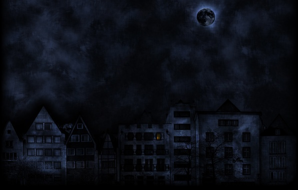 Picture the moon, the darkness, Street