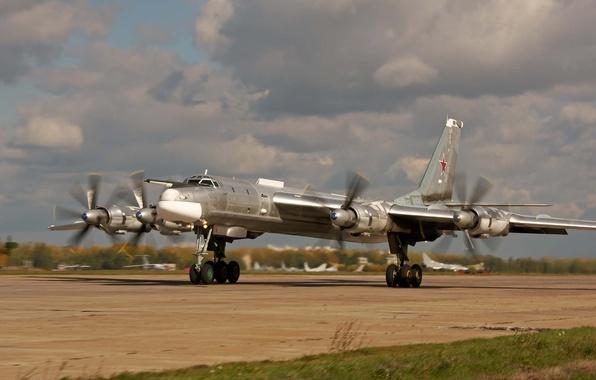 Picture bear, bomber, BBC, strategic, Tupolev, Russia, Soviet, Tu-95MS, nickname, turboprop, Intercontinental, missile., Bear