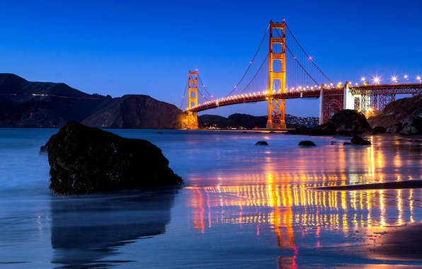 Picture water, bridge, the city, Strait, reflection, stones, the evening, lighting, CA, San Francisco, Golden Gate, …