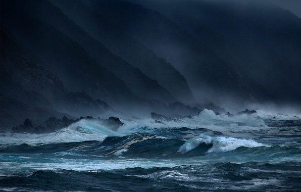 Picture sea, wave, storm, rocks, the evening, dark, waves, storm, twilight, twilight, sky, sea, ocean, coast, …
