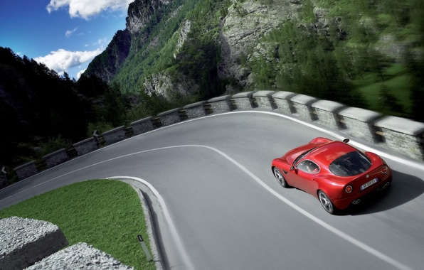 Picture road, auto, nature, speed, alfa-romeo
