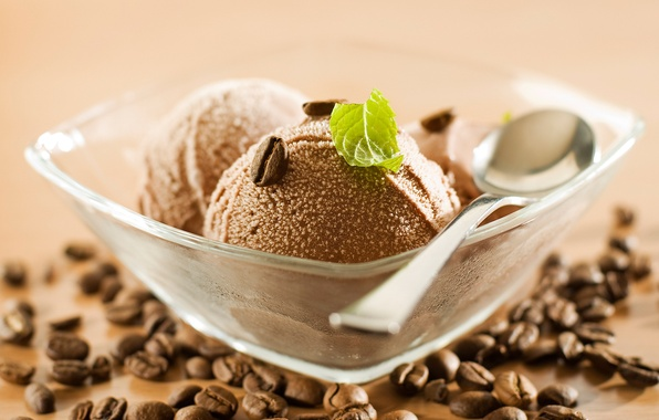 Picture coffee, spoon, ice cream, circles, mint, chocolate