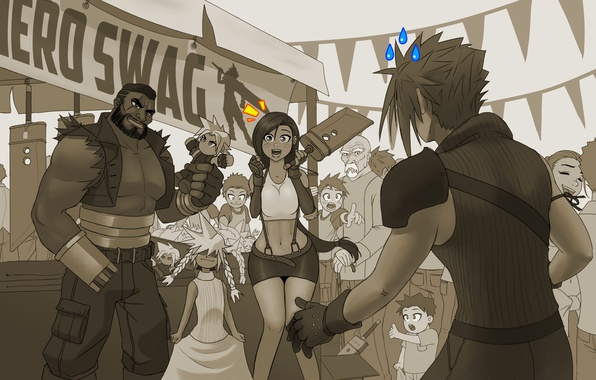 Picture toy, Final Fantasy, ff7, Tifa, Final Fantasy VII, Cloud Strife, Tifa Lockhart, barrett, Barret Wallace