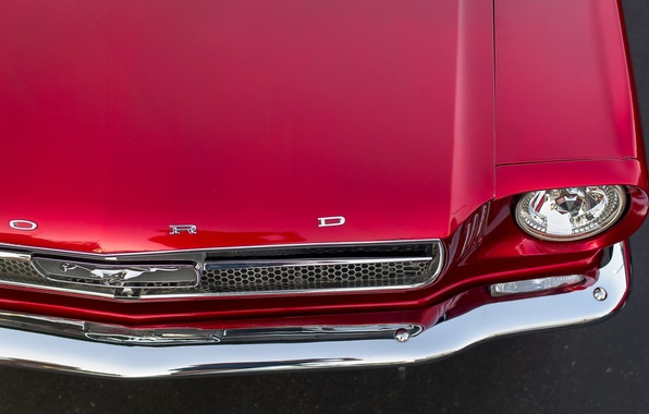 Picture red, Mustang, Ford, the hood, muscle car, Muscle car