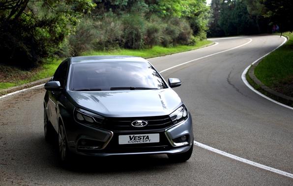 Picture road, car, sedan, silver, Lada, Lada, Vesta, Vesta