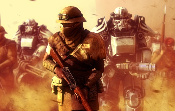 Photo Wallpaper Fiction War Soldiers Armor Fallout New Vegas Post