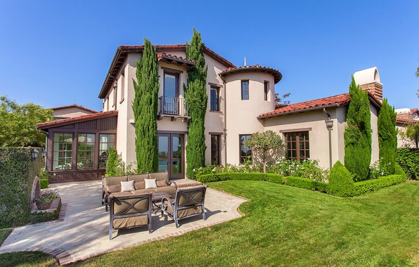 Picture greens, trees, design, house, sofa, lawn, chairs, interior, mansion, the bushes, table