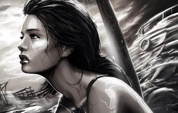 Picture sea, girl, rain, the game, black and white, ships, Tomb Raider, Lara Croft, Lara Croft, …