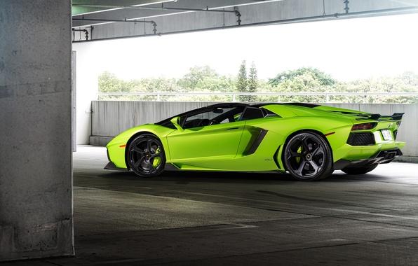 Picture green, supercar, lamborghini, coupe, roadster, aventador, Lamborghini, aventador, lp-700-4, 2015