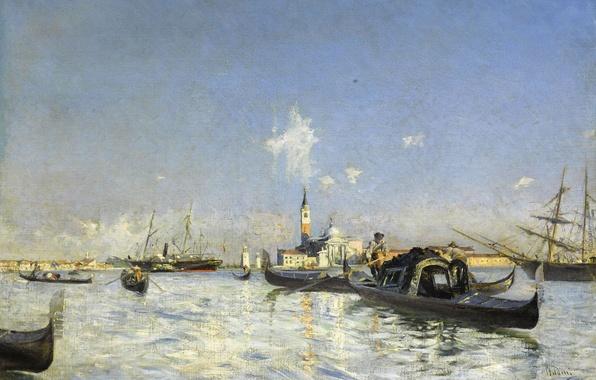 Picture boat, ship, picture, gondola, seascape, the bell tower, Giovanni Boldini, The island of San Giorgio ...