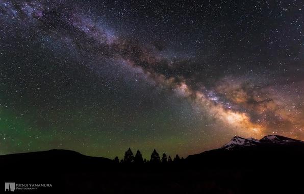 Picture the sky, stars, mountains, night, beauty, The milky way, photographer, Kenji Yamamura