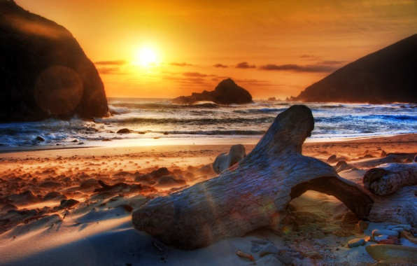Picture SEA, MOUNTAINS, TRUNK, HORIZON, The OCEAN, The SKY, SAND, CLOUDS, SURF, LOG, SNAG, SHORE, DAL, …