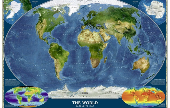 Photo Wallpaper The Ocean World Map Continents Geography
