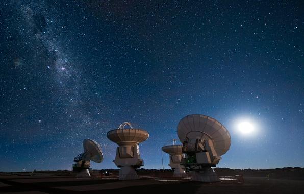 Picture the sky, stars, The moon, The milky way, radio telescope