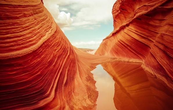 Picture wave, the sky, water, reflection, rocks, texture, USA, AZ, a national Park Vermilion Cliffs, The …