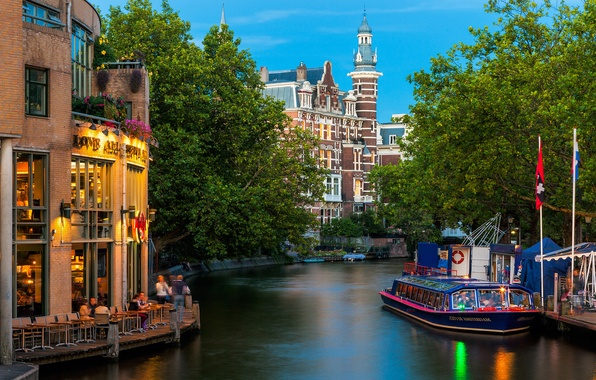 Picture trees, nature, the city, river, people, building, Amsterdam, channel, cafe, tram, Netherlands, architecture, Amsterdam, Nederland, …
