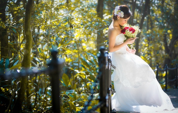 Picture girl, flowers, street, Asian, the bride