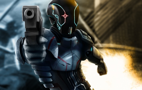 Picture gun, weapons, background, fiction, fire, art, helmet, armor