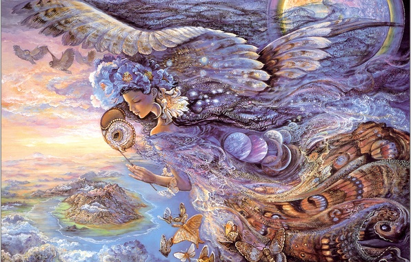 Picture girl, butterfly, night, fantasy, wings, Queen of the Night, Josephine Wall